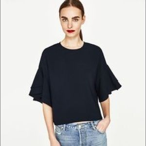 Zara Black Ruffle Sleeve Top
